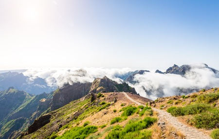 hiking path: Hiking path in mountains, Madeira Stock Photo