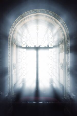 lockup: Beams of sunlight in the window inside in dark lodging