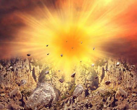 rockfall: Abstract image of big explosion