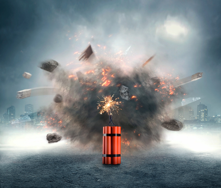 Dangerous dynamite exploding in the urban area Stockfoto