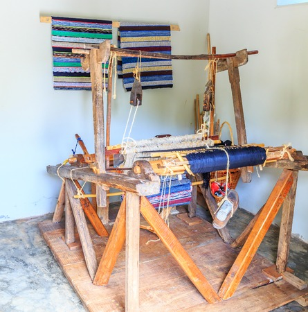 weave: Old shuttleless loom stands in the room