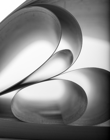 macro: Macro view of abstract paper curves. B-W image