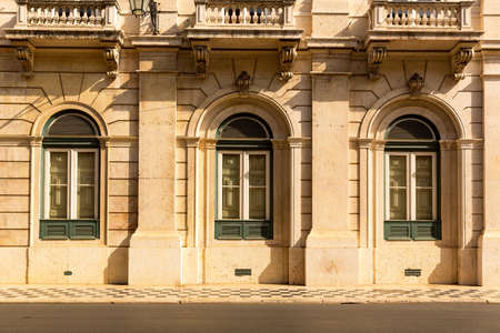 facade: Classic building with three windows close up, Portugal