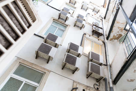 dwelling: View of dwelling house with air-conditioners Stock Photo