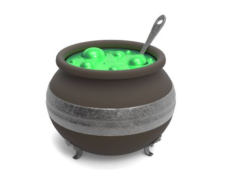 bubbling: Spooky witchs cauldron with green bubbling cooking on white