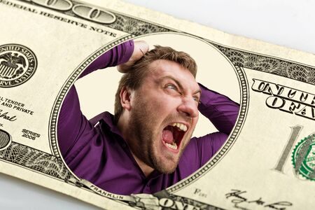 mad man: Mad man on the dollar banknote crying Stock Photo