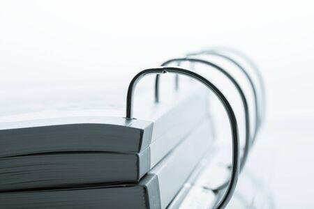 catalogs: File folder with catalogs closeup. Toned image