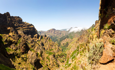tourist feature: Panoramic landscape of high cloudy mountains, Portugal, Madeira Stock Photo