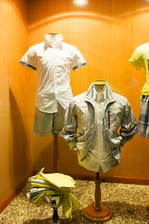 male mannequin: Modern male shirts on mannequins in the shop Stock Photo