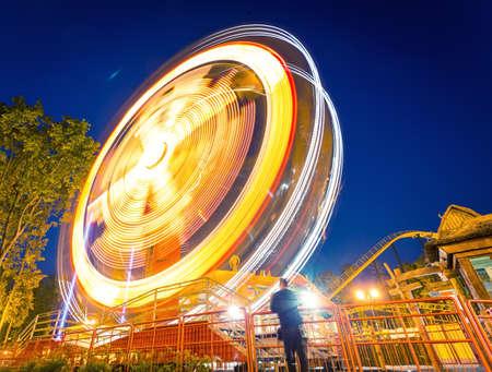 avignon: Fast big wheel in the night park