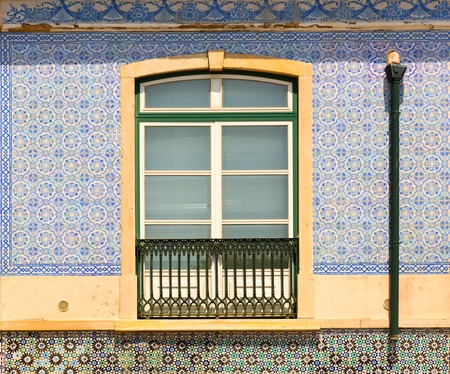 balcony window: Decorated window with balcony close up Stock Photo