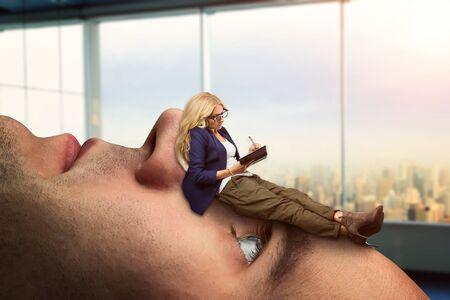 psych: Businesswoman analyst is lying on the clients face