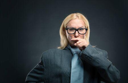 self assurance: Funny nerd businesswoman in glasses Stock Photo