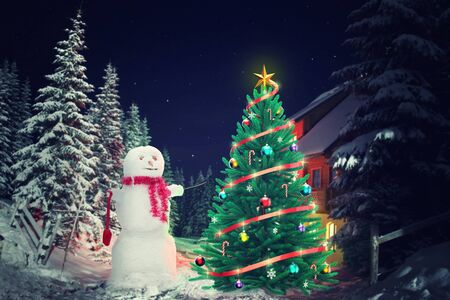 christmas trees: Christmas tree and snowman outside in the evening Stock Photo
