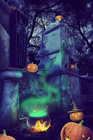 light  house: Mystery Helloween night with pummpking near old gates