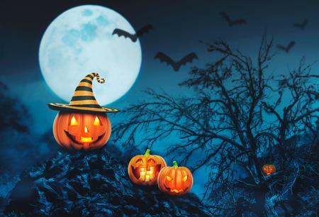 calabazas de halloween: Helloween calabazas con velas en el bosque de la noche Foto de archivo