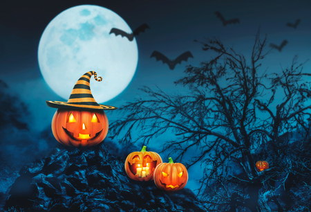 helloween: Helloween pumpkins with candles in the night forest Stock Photo