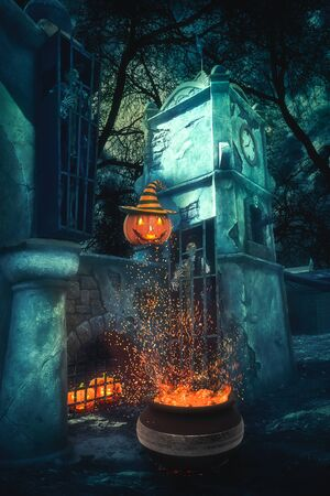 holiday house: Mystery Helloween landscape with pummpking near old gates