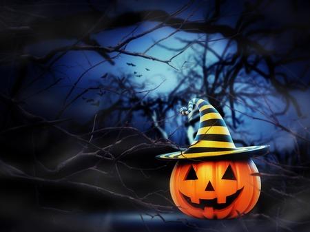 helloween: Helloween pumpkin in the spooky night forest