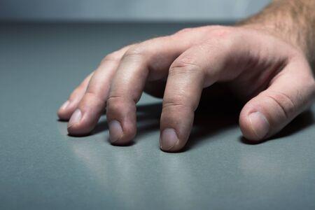 human palm: Human palm on a grey table closeup