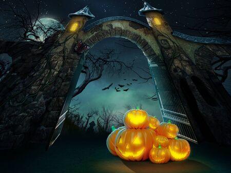 Heap of Halloween pumpkins at spooky graveyard gates at night