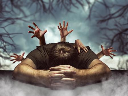 Sleeping man in halloween with many creepy hands behind