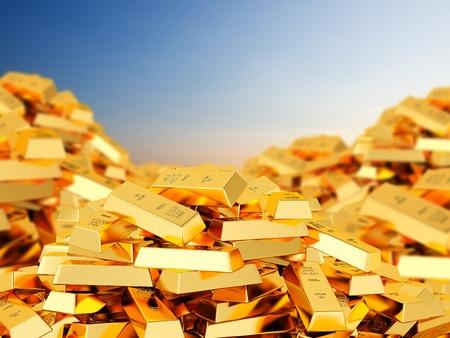 Een grote hoop van staven van goud tegen de hemel