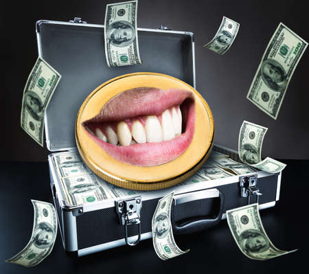 gold facial: Humam mouth in the coin over case with money background