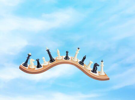 chessmen: Chessmen on the waved board in the sky