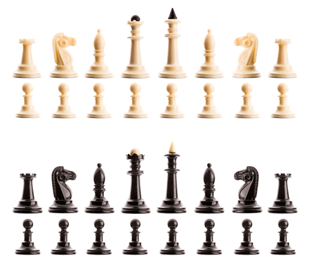 chessmen: Chess figures in ranges isolated on white background