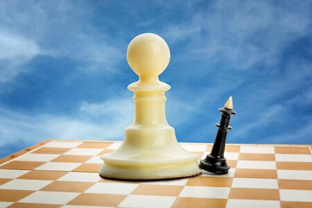 failed strategy: Big pawn and little king on the chess board