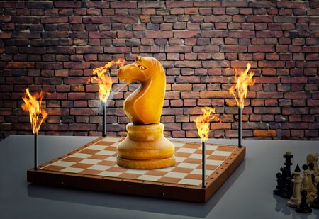 supremacy: Big knight on the chess board with torches on the corners