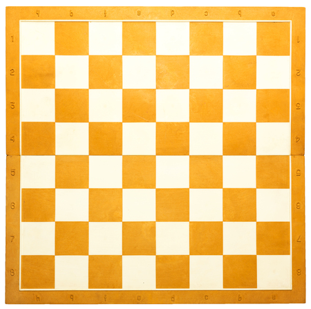Wooden chess board in orange and white