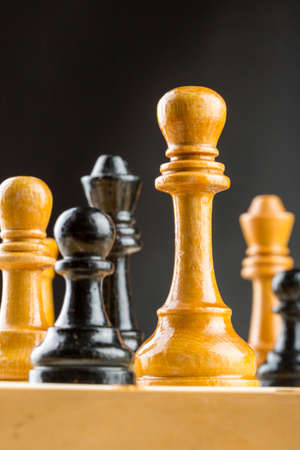 Close up of chess figures on the board Stock Photo