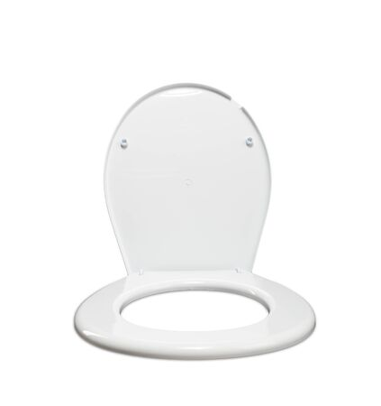 White toilet seat lid on the black spinning chair Stock Photo