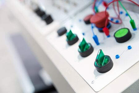 electro: Electro control panel in the factory close up