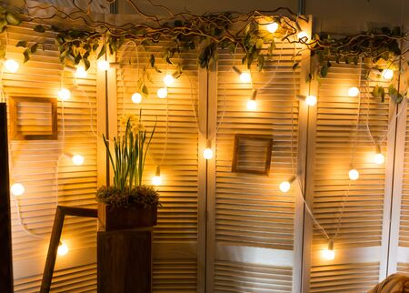 romantic room: Romantic room with garland with lights and vine Stock Photo