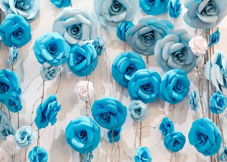 material flower: Many artificial decoratory roses on the wires
