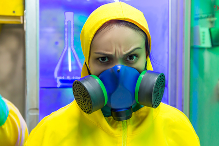 protective suit: Woman wearing protective outerwear suit close up
