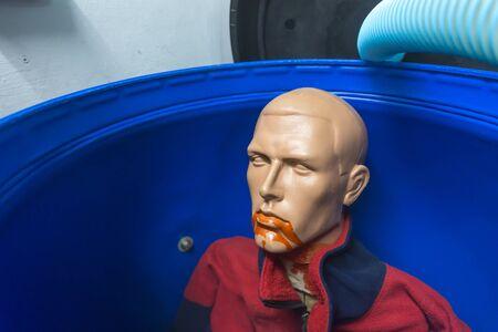 obstetrician: Plastic man in a plastic bin
