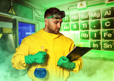 meth: Man in protective suit working in the lab Stock Photo