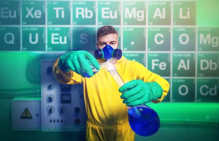 meth: Man in protective suit working with tubes while cooking meth