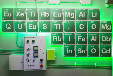 periodical: Green periodical table in the chemical laboratory