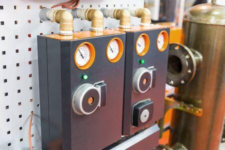 matallic: Side view of modular block of heating system