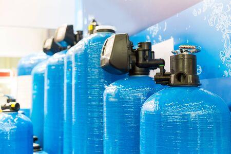 Close up of blue filtrational columns Standard-Bild
