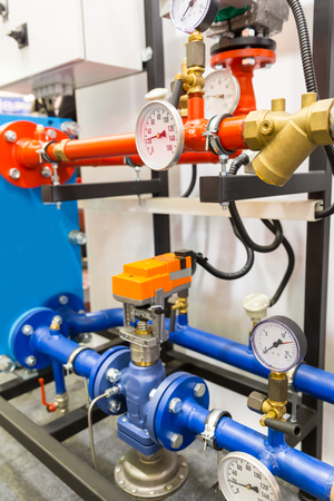 exchanger: Heat exchanger device with pipe manifold Stock Photo