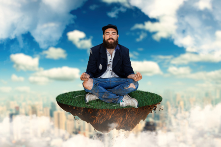 joblessness: Homeless is meditating on flying island in the sky