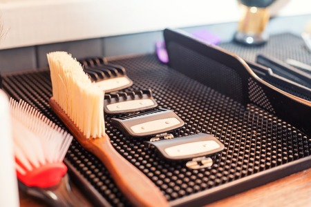 trimmers: Close up of different sizes for hair clipper