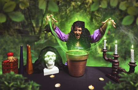 summoning: Crazy sorceress practises witchcraft using bucket, she is summoning ghosts