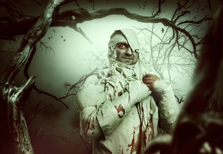 mummy: Bloody mummy at night in the forest